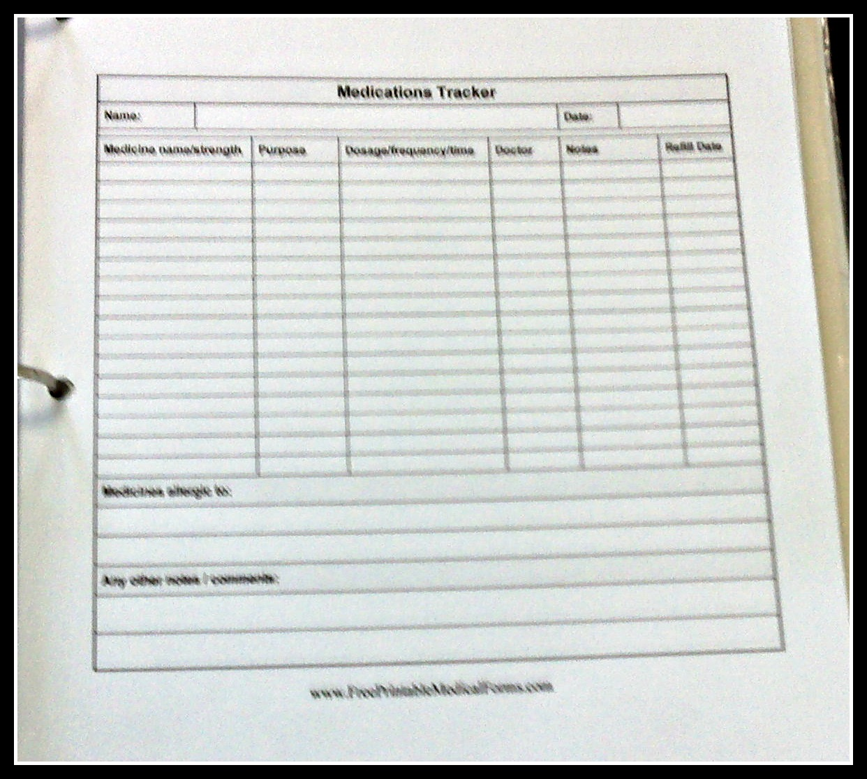 printable patient medication log sheet