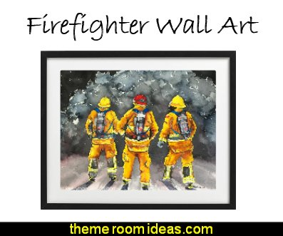 Firefighters watercolor painting firemen  prints. Firefighter Art, Firemen Painting