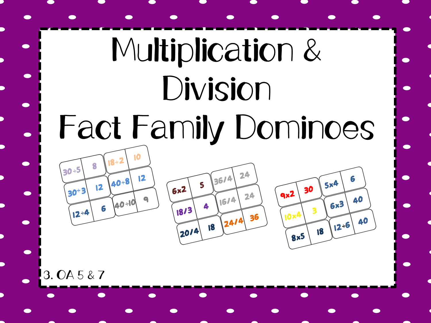 Smiths On The Coast Multiplication And Division Dominoes