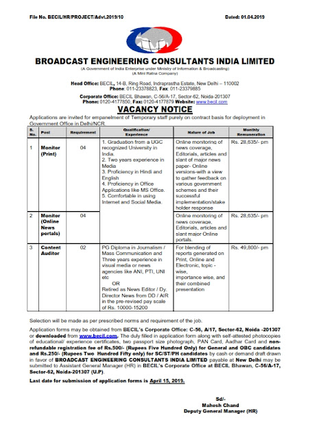 Monitor and content Auditor Post in BECIL, New Delhi(10 posts)
