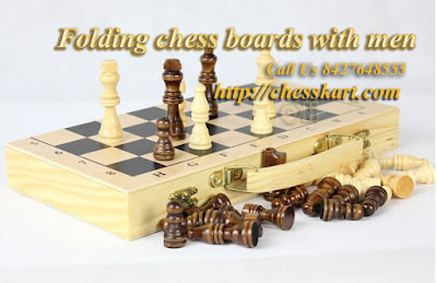 Folding chess boards with men