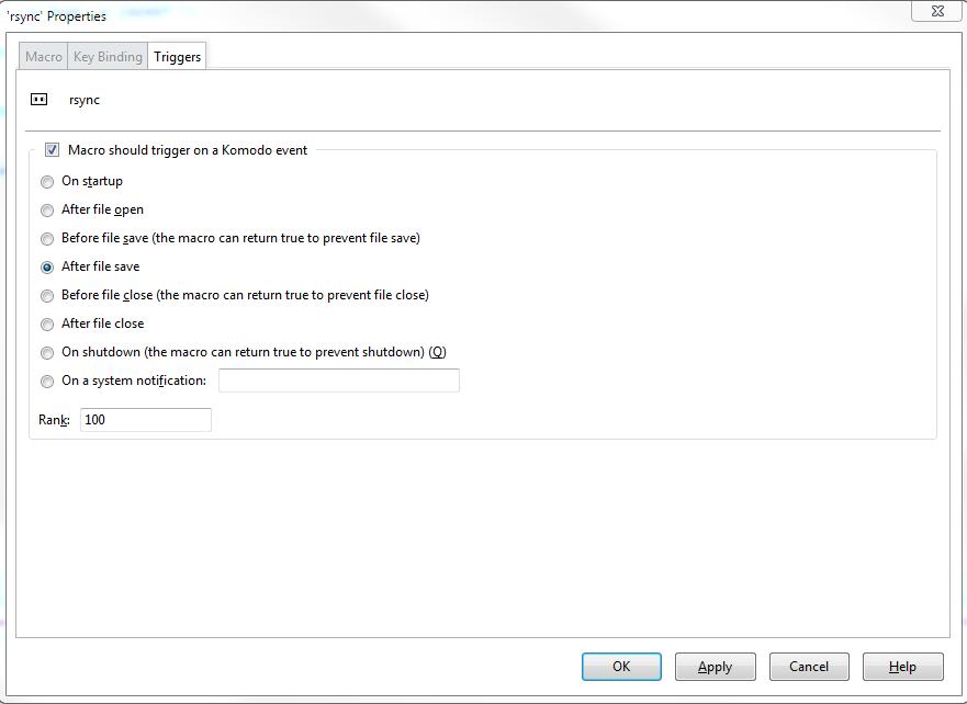 rsync from windows with cwrsync with komodo edit | I have