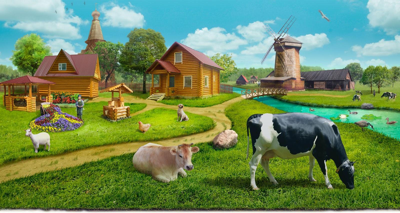 Домашние животные в деревне картинка