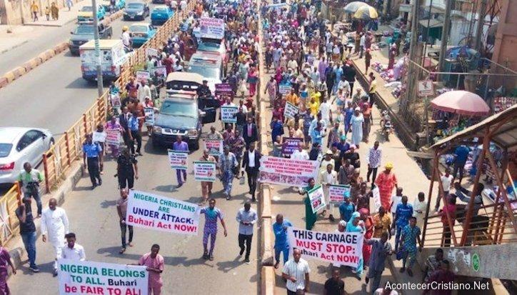 Manifestantes cristianos en Nigeria