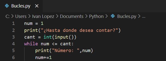 Ejemplo de bucles en Python