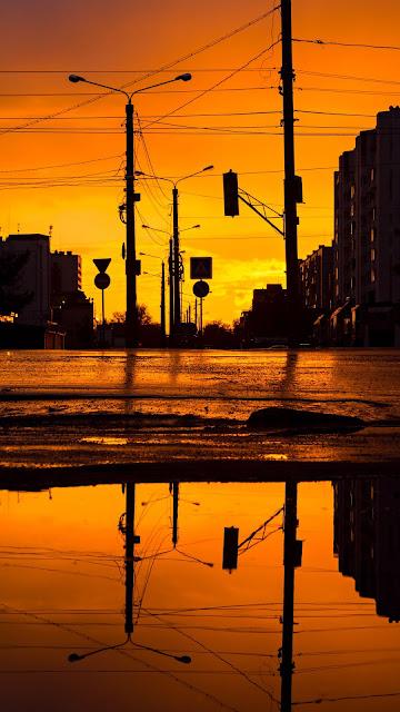 Wall City Sunset Wallpaper