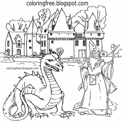 Magic dragon Camelot Merlin wizard coloring book Europe medieval palace drawing ideas for teenagers