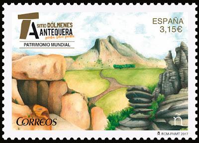 Filatelia - Patrimonio Mundial. Sitio Dólmenes de Antequera - Sello - 14/07/2017