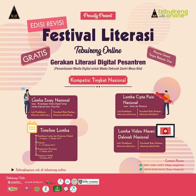 Festival literasi Tebu Ireng Gratiss dan Hadiah Jutaan Rupiah