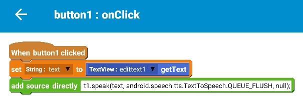 Using TextToSpeech in Sketchware
