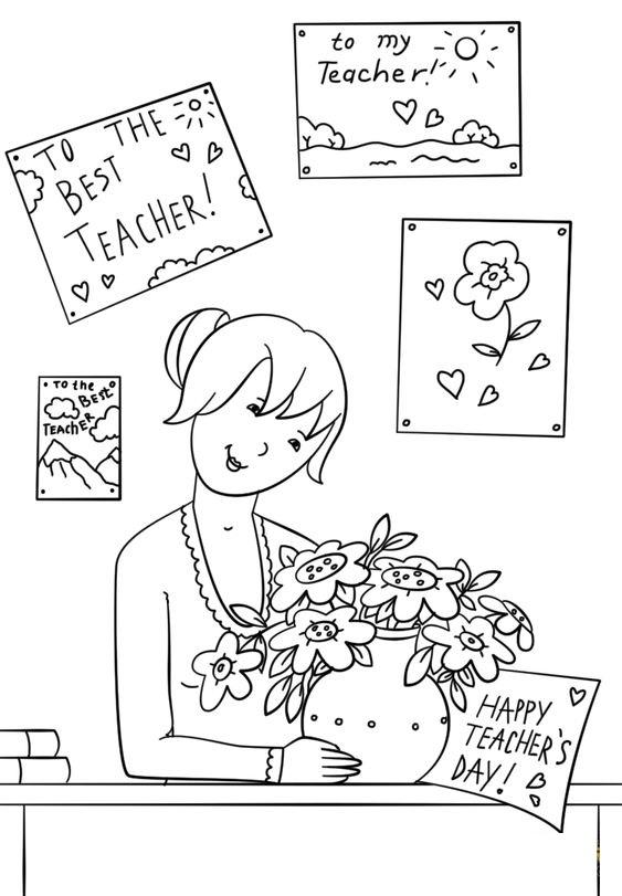 Tranh tô màu cô giáo hạnh phúc