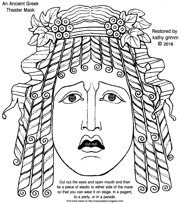 Ancient Greek Theater Masks for Girls And Boys To Color