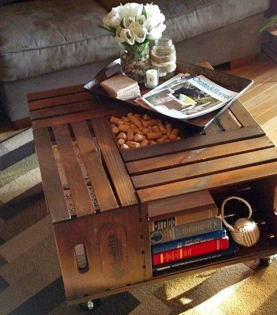 reutilizar caixotes de madeira mesa centro