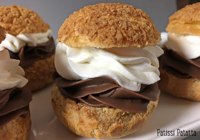 recette de choux vanille et chocolat, recette de choux, ganache au chocolat et tonka, chantilly mascarpone à la vanille, choux très gourmands, choux pâtissier, pâtisserie maison, j'aime les choux, choux craquelin, patissi-patatta