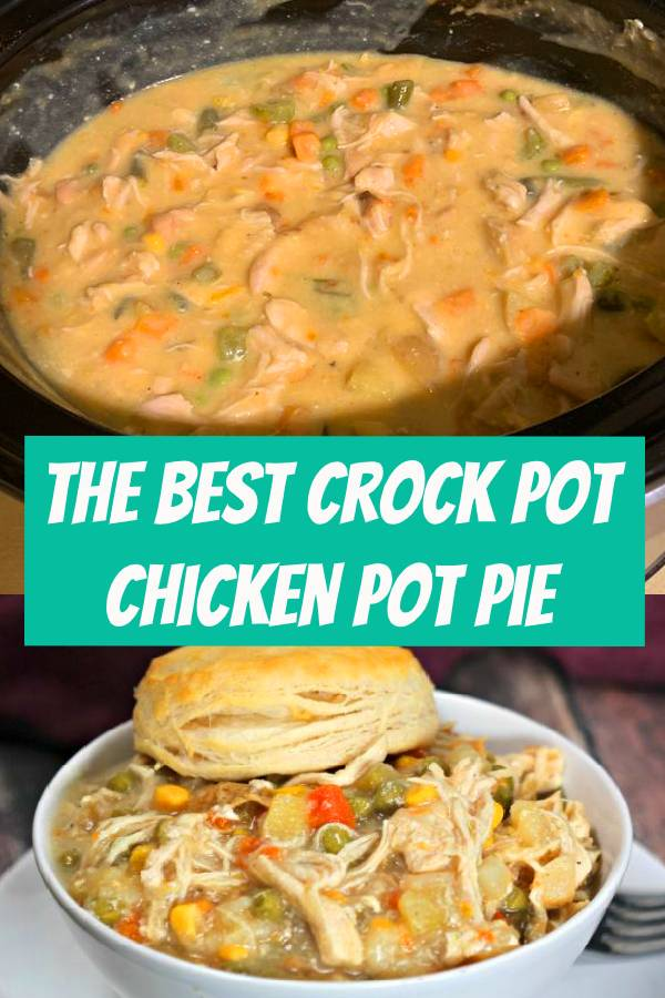 This is the best chicken pot pie made in the crock pot. This recipe is easy to make but still tastes delicious! This simple slow cooker recipe is great served with biscuits or crescent rolls. I hope your family enjoys it as much as mine does! #recipes #quickandeasy #dinner #dinnerrecipes #dinnerideas #recipeideas #recipeoftheday #slowcooker #slowcookerrecipes #crockpot #crockpotrecipes