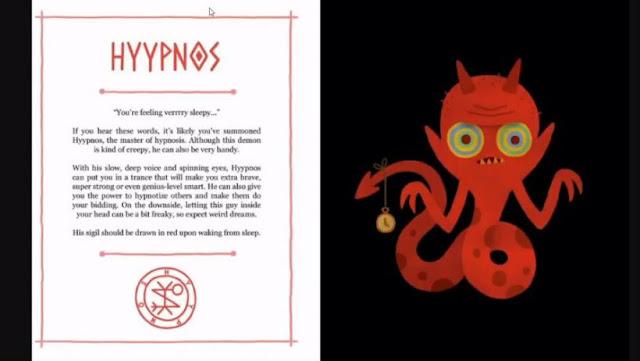Ilustração de Um Livro Infantil dos Demônios, contendo a imagem de um ser em formato de serpente, com chifres e segurando um relógio, ao lado um sigilo de invocação, um texto descritivo e o seu nome Hyypnos.