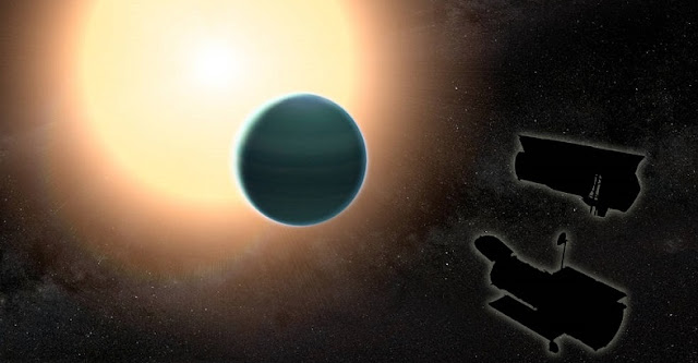 "The atmosphere of the distant ""warm Neptune"" HAT-P-26b, illustrated here, is unexpectedly primitive, composed primarily of hydrogen and helium. By combining observations from NASA's Hubble and Spitzer space telescopes, researchers determined that, unlike Neptune and Uranus, the exoplanet has relatively low metallicity, an indication of the how rich the planet is in all elements heavier than hydrogen and helium. Credits: NASA/GSFC"