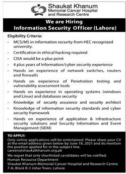 careers.@shaukatkhanum.org.pk - Shaukat Khanum Memorial Cancer Hospital And Research Centre Jobs 2021 in Pakistan