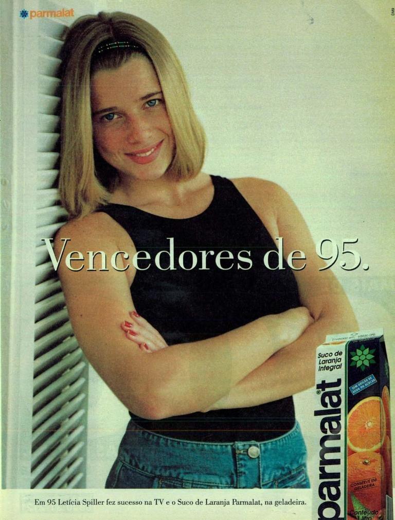 Propaganda antiga da Parmalat promovendo sua linha de sucos junto à atriz Leticia Spiller