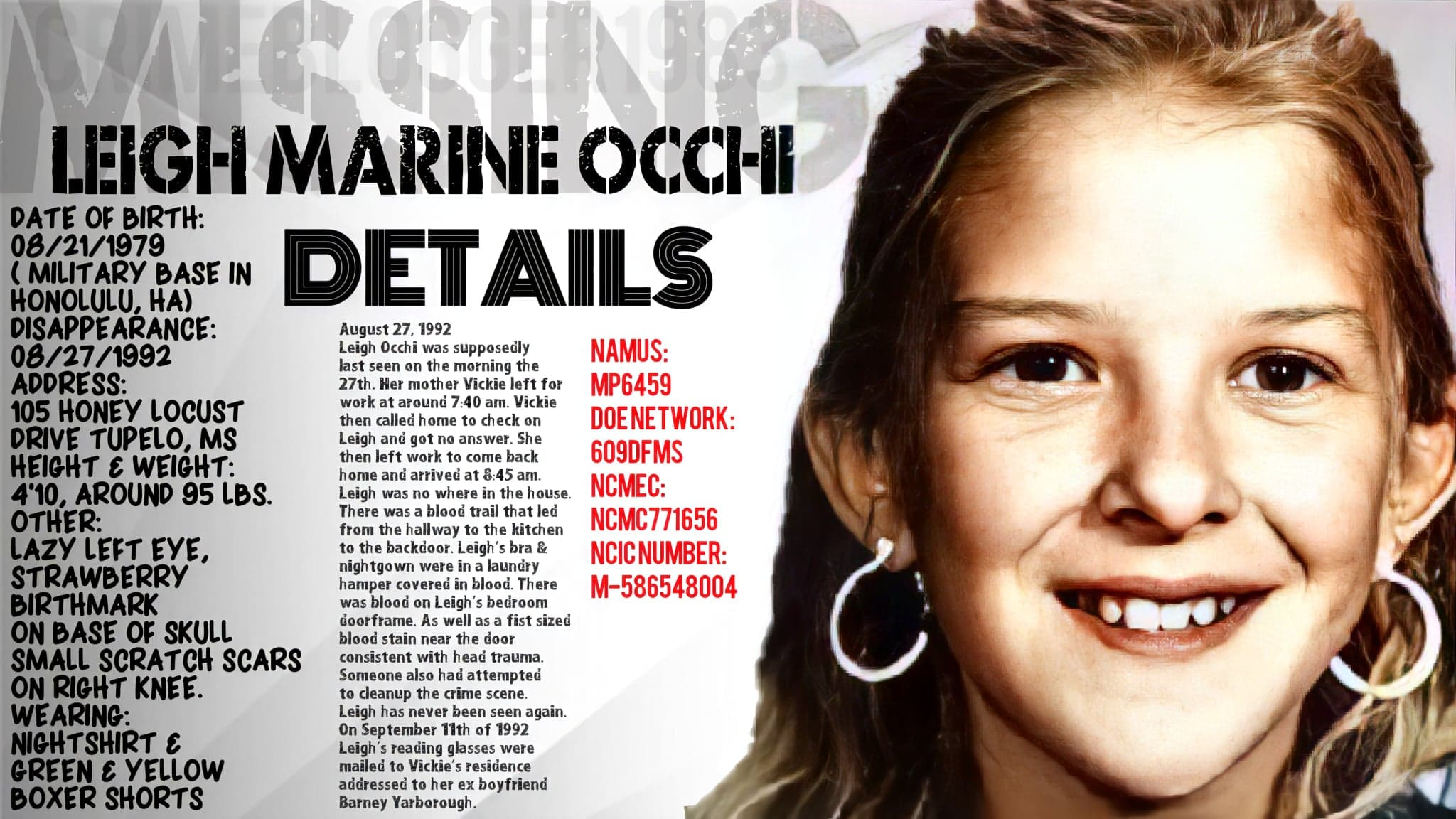 The Disappearance Of Leigh Marine Occhi Part One Crimeblogger1983