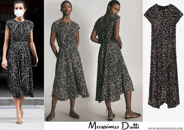 Queen Letizia wore Massimo Dutti Animal Print Dress