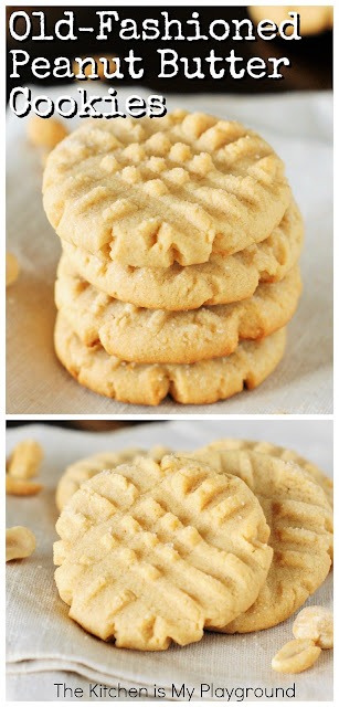 Grandma's Old-Fashioned Peanut Butter Cookies ~ Soft, tender, rolled in sugar, fork-pattern adorned & loaded with fabulous peanut butter flavor! These peanut butter cookies like Grandma used to make are the stuff childhood cookie memories are made of. #peanutbuttercookies #cookies www.thekitchenismyplayground.com