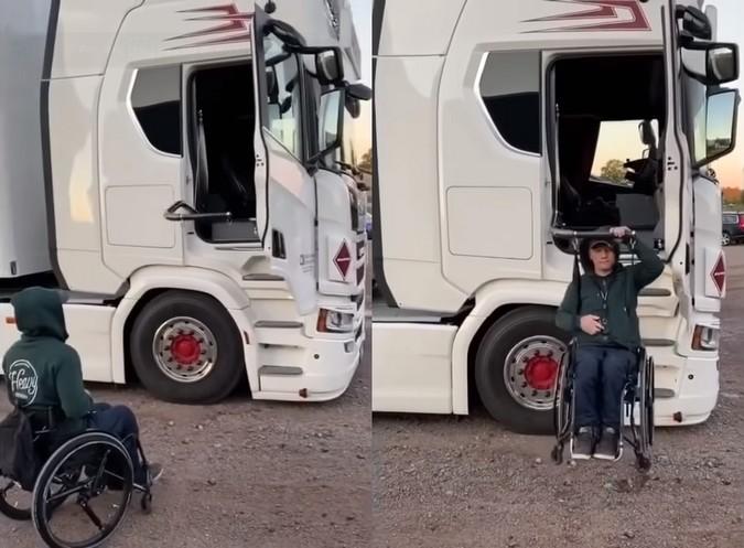 Superação: Com apoio de transportadora, Scania R 580 V8 é adaptado para motorista cadeirante