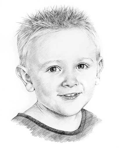 pencil children portrait