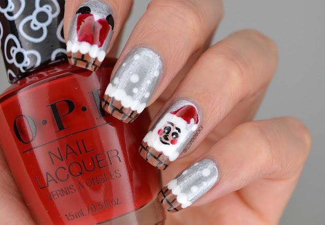Santa Falling Chimney Nail Art