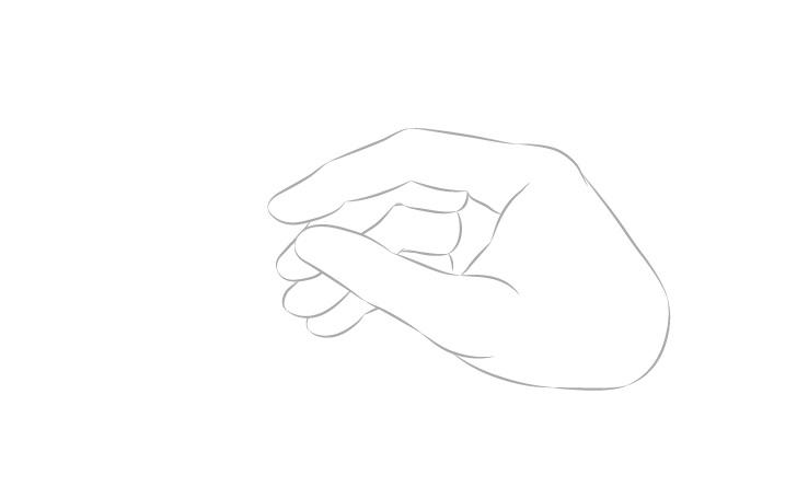 Tangan memegang sumpit gambar jari tampilan samping
