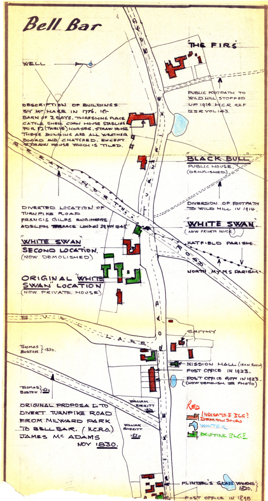 Map of Bell Bar showing the sites of four inns or alehouses  Image from the NMLHS, part of the Images of North Mymms collection