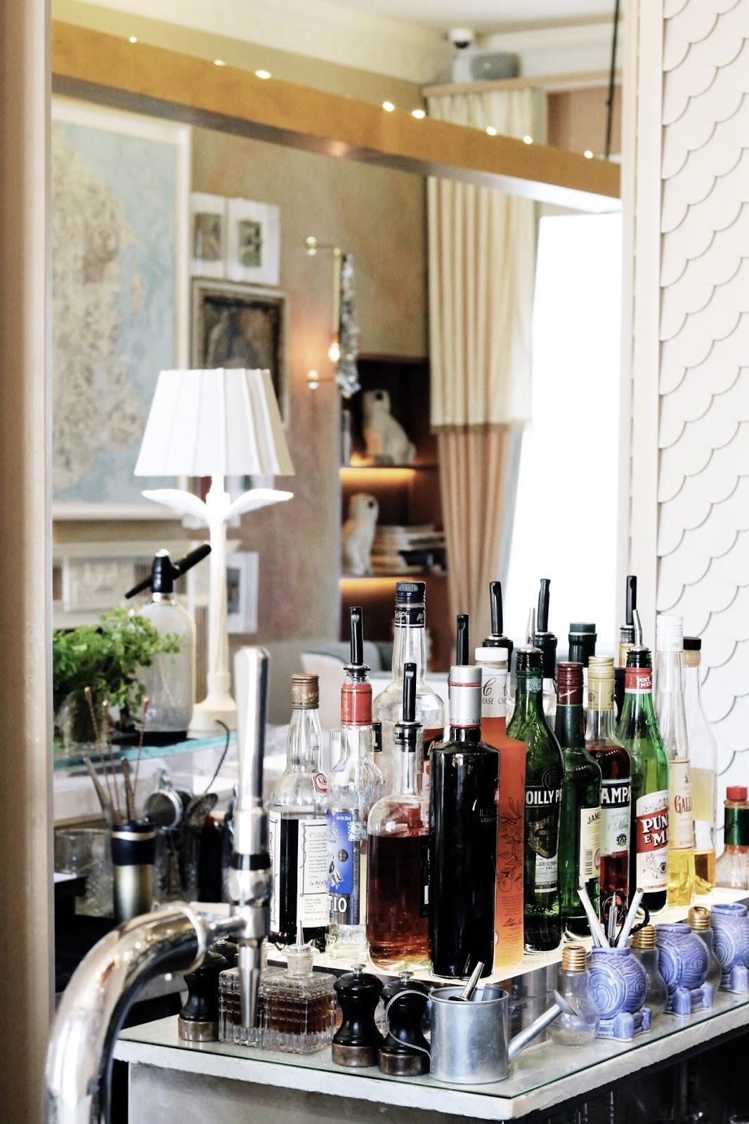 Luxury boutique hotel bar cart