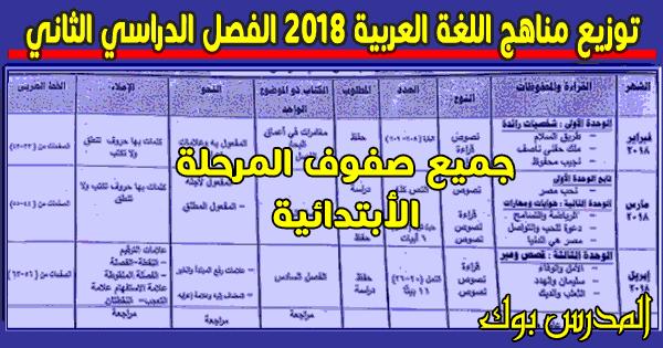 توزيع منهج اللغة العربية 2018 الترم الثاني جميع الصفوف نسخة أصلية مختومة.توزيع منهج اللغة العربية الصف الاول الابتدائي 2018, الصف الثاني الابتدائي 2018 ,الصف الثالث الابتدائي , الصف الرابع الابتدائي , الصف الخامس الابتدائي ,الصف السادس الابتدائي 2018
