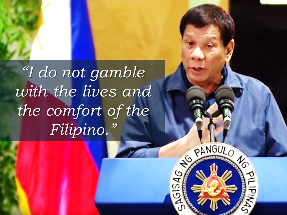 President Duterte made an assurance for the Overseas Filipino Workers that his administration will work hard for them to have a comfortable life during his term.   Duterte said in a speech during the 84th anniversary celebration of the Department of Labor and Employment (DOLE) at the Bulacan Capitol Gymnasium that he will not gamble with the lives and comfort of the Filipino.    He  also said that he had ordered a stop on unwarranted inspections of baggage, especially of returning Filipino workers.  Sponsored Links  There had been previous instances  that returning OFWs  were harassed at the airport, their balikbayan boxes were opened, or being planted with a bullet without their knowledge. There were also instances that they fall victim of thieves inside the airport.    President Duterte reiterated that there will be no such harassments for the OFWs anymore. He urges every OFW to report any harassment made by any officials at the airport and he will make them liable for it.       Advertisement  Read More:                    ©2017 THOUGHTSKOTO