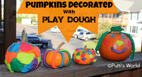 Pumpkins Decorated With Play Dough