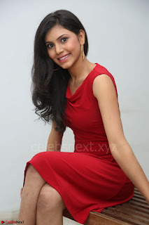 Mounika Telugu Actress in Red Sleeveless Dress Black Boots Spicy Pics 024.JPG