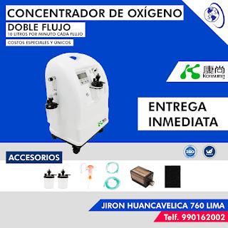 Concentrador oxígeno doble flujo 10 litros por minuto accesorios direccion salud y superacion eirl telefono