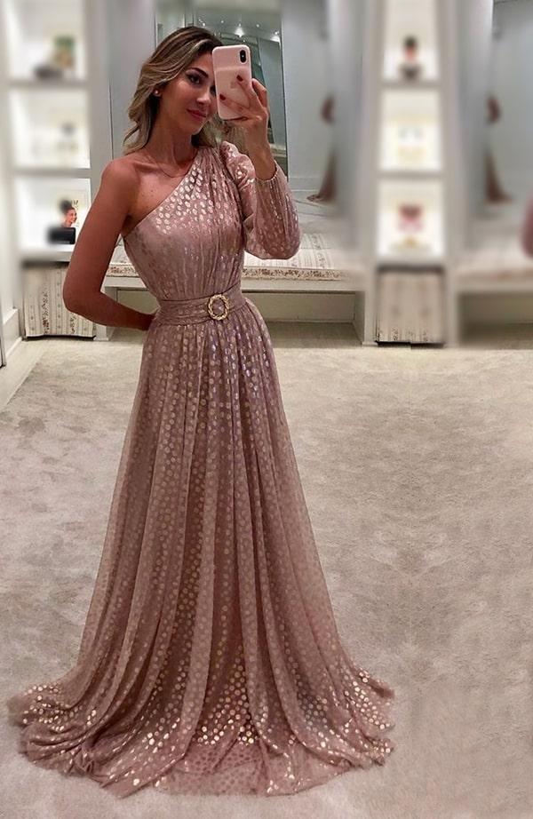 vestido de festa longo nude