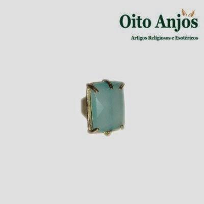 Anel Topázio Azul Pedra * Oito Anjos Artigos Religiosos e Loja Esotérica