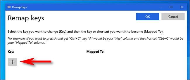 """في نافذة """"مفاتيح إعادة رسم خريطة"""" PowerToys ، انقر فوق زر علامة الجمع."""