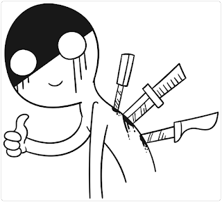 A cartoon image of a person making a 'thumbs-up' gesture despite having several knives sticking into his back.