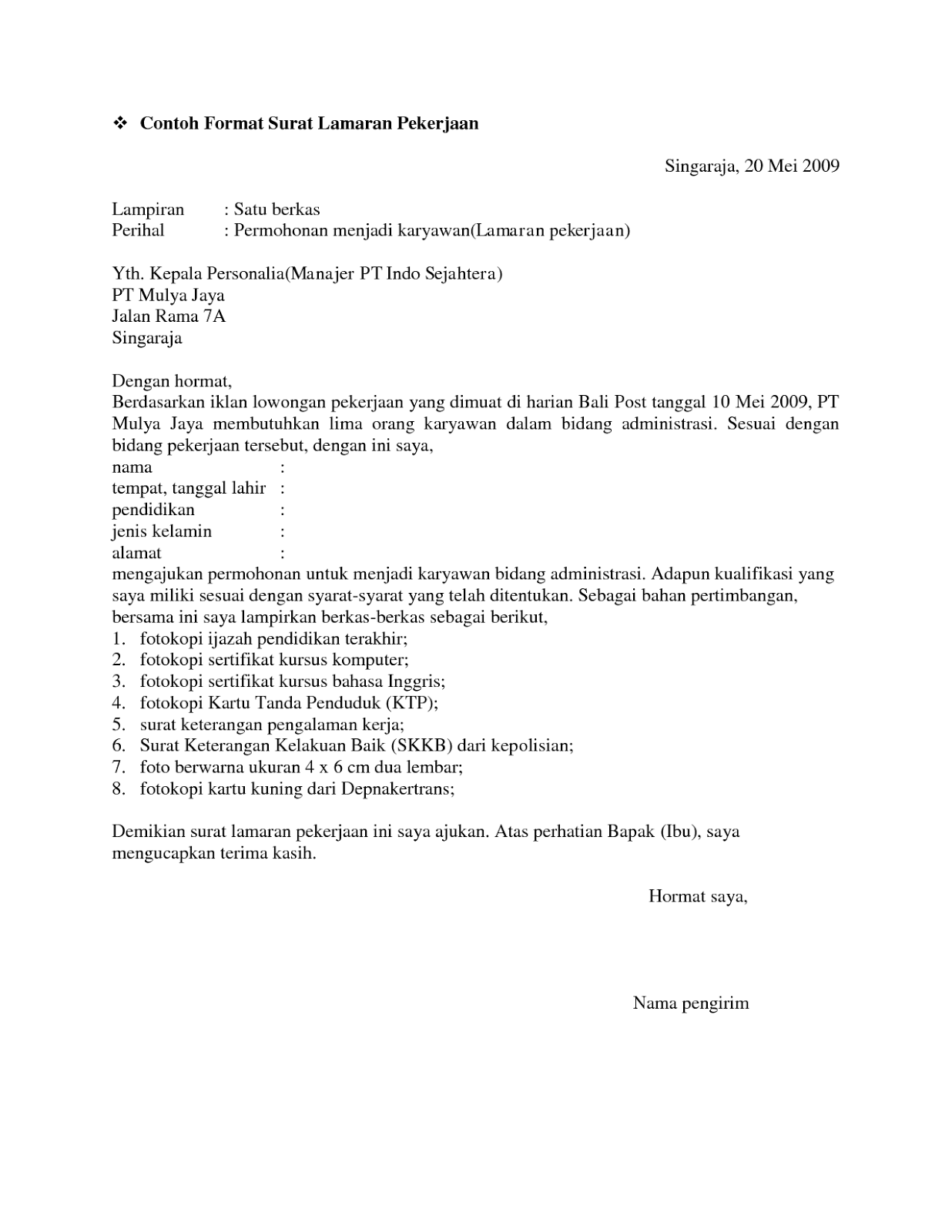 10 surat lamaran pekerjaan resmi ben jobs