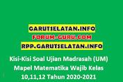 Kisi-Kisi Soal Ujian Madrasah (UM) Mapel Matematika Wajib Kelas 10,11,12 Tahun 2020-2021