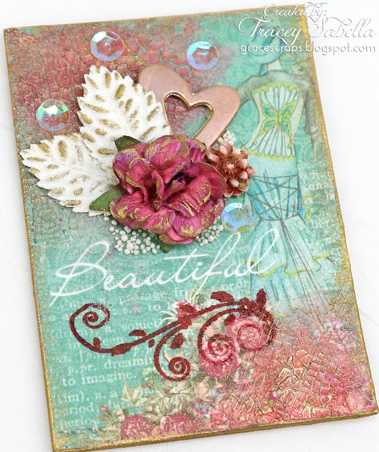 Mixed media Valentine artist trading cards (ATC) by Tracey Sabella for ScrapBerry's. Also using FInnabair Prima Waxes, Prills, Viva Croco Crackle, and Heidi Swapp Color Shine.  http://bit.ly/2DgtuTt