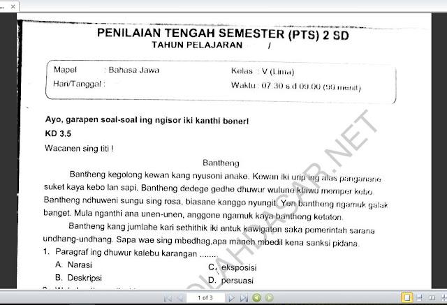 Soal PTS atau  UTS Semester 2 Bahasa Jawa Kelas 5