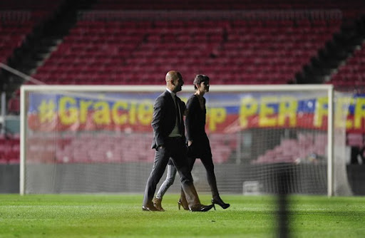 Guardiola shares final Camp Nou moments with family