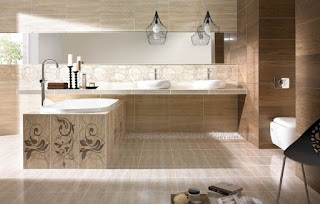 baño moderno color beige