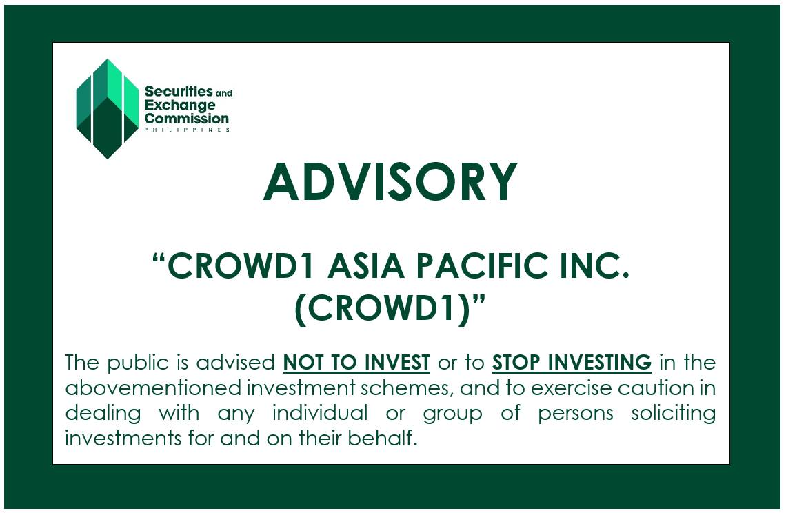 SEC: CROWD1 not authorized to solicit investments