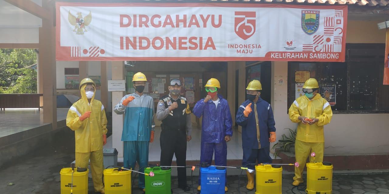 Cegah Sebaran Covid-19, Polsek Batang Kota Bersama Kelurahan Sambong Lakukan Penyemprotan Disinfektan