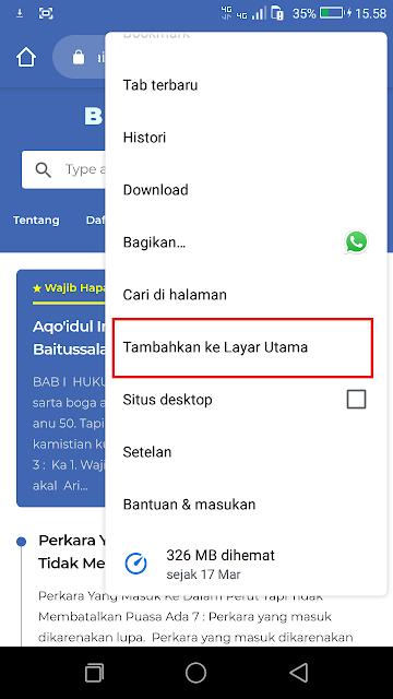 Setelah panel pengaturan terbuka, klik tambahkan ke layar depan